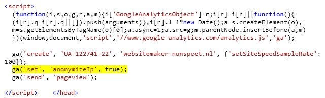 Google Analytics Anonymize IP